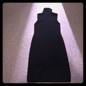 Black knit turtleneck dress